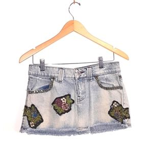 Bershka Acid Wash Denim Skirt